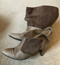 Topshop Size 6 Vintage Feel Ankle Boots Slouch Tie Up Leather And Suede