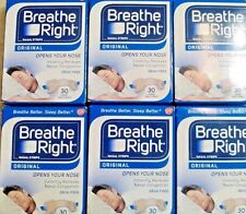 Six (6) Pack - Breathe Right Nasal Strips Original Tan Large Strips, 30 Count