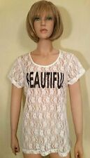 NWT Jenni by Jennifer Moore Women's White Lace Floral Short Sleeve Top Size: L