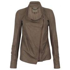 Muubaa Castor Unlined Drape Leather Jacket in Mink. RRP £359. M0338. UK 10.