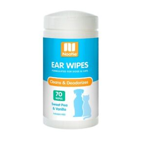 Nootie Ear Wipes for Pets - Cleans & Deodourises - Sweet Pea & Vanilla - 70 Pack