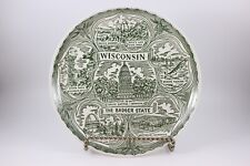 Vintage Green Transferware Wisconsin State Plate The Badger State