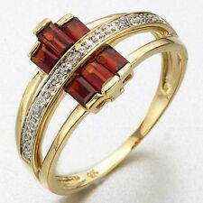 Luxury Size 9 Nobby Garnet 18K Gold Filled Womens Fashion Anniversary Ring Gift