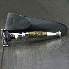GOLDEN Antico Gillette MACH 3 rasoio da barba (TESTINA sostituibile) + sacchetto di cuoio