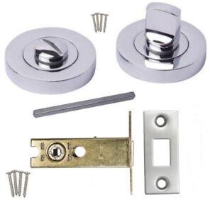 Bathroom Toilet Door Thumb Turn & Release Set + Deadbolt Lock Chrome,Satin,Brass