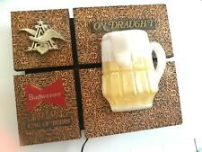 """Budweiser """"King Of Beers"""" """"On Draught"""" Light Fixture Sign with Foaming Beer Mug"""