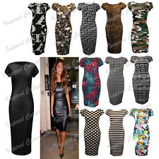 Women Ladies Printed Jersey Stretch Crew Neck Bodycon Cap Sleeve Midi Dress 8-26