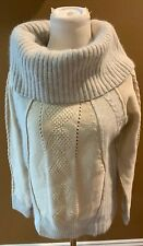 Sundance lambswool Angora Rabbit Hair Cowl Neck Pullover Sweater S Gray Ivory