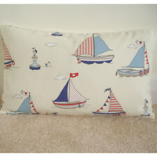 "20""x12"" Oblong Cushion Cover Red White Blue Boats Birds Bhoys Nautical Maritime"