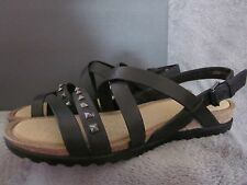 ECCO Dagmar Womens Black Leather Studded Sandals Shoes US 7 - 7.5 EUR 38 NWB