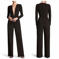 Dress The Population Drew Black Illusion Plunge Neckline Jumpsuit Size Large NWT