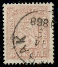 Norway #9 8sk rose, used, Xf stamp, Facit for top quality $130.00