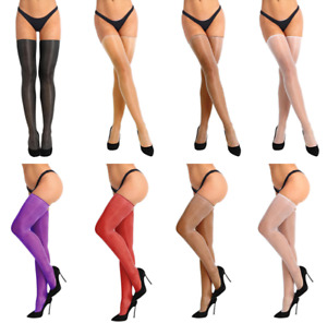 Women Sheer Compression High Thigh Hosiery Silk Hold Up Long Stockings Pantyhose