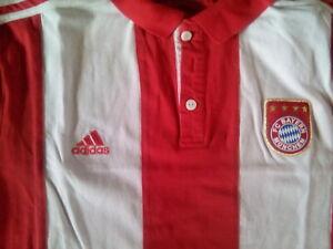FC Bayern München Polo Shirt Gr. XL Rot Weiß Retro