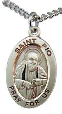 """St Padre Pio Sterling Silver 7/8"""" Saint Medal w/ 24"""" Steel Chain Made in the USA"""