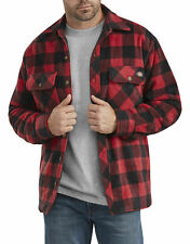 DICKIES MENS MICRO FLC QUILTED SHIRT JACKET PLAID CANE RED/DICKIES BLACK 4XL