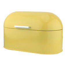 Custard Yellow Stainless Steel Vintage Bread Loaf Bin Box Food Storage Container