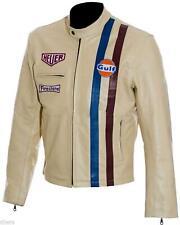 Men's Steve McQueen Le Mans Gulf Racing Style Leather Jacket - S M L XL XXL XXXL