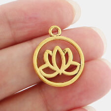 20 x Gold Tone Lotus Flower/Water Lily Round Charms Pendants Beads Double Sided