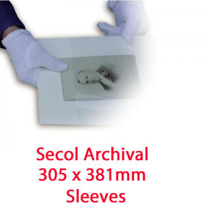 Secol 305mm x 381mm Archival Storage Pockets - 50 Sleeves