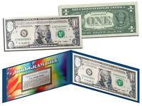 AQUA SILVER LASER CUT HOLOGRAM Legal Tender US $1 Bill Currency Limited Edition