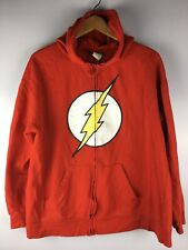 DC COMICS Original Flash Hooded Red Sweatshirt Full-Zip Cotton Pockets XL