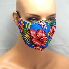 Hawaiian Hibiscus Flower Cotton Face Mask 3 layer with Nose Wire filter Pocket
