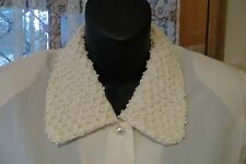VINTAGE ~ PERFECT ~ Cream Ruched Faux Pearl Collar BLOUSE/TOP * Sz12 * REDUCED !