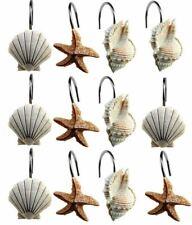 Set of 12 Shower Curtain Decorative Hooks Rings Starfish & Sea Shell