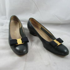 Salvatore Ferragamo Boutique Navy Leather Vera Bow Pumps Shoes 7.5 A2 Italy
