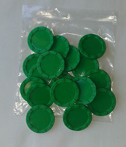 Stacking counters  (New pack of 20 green stacking counters 40mm diam x 4mm high)