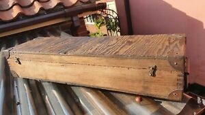Old Wooden Toolbox Box Case with metal corners and brass catches