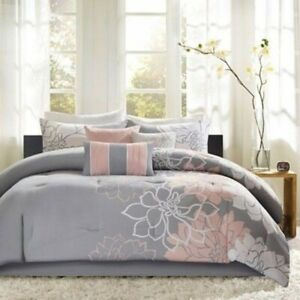Madison Park Lola 200 Thread Count Floral Sateen 7pc Queen Comforter Set