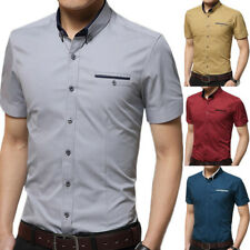 Casual Mens Short Sleeve Blouse Tops Button Down Solid T-shirt Tee Stand Collar