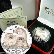 2009 Isle of Man CHINCHILLA CAT COIN with COLOR Silver Proof in Mint Box + COA