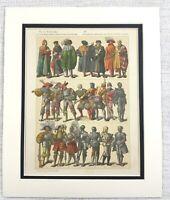 1895 Antico Stampa 16th C Germania Abito Costume Storico Moda Textiles Art