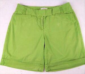 ANN TAYLOR LOFT SHORTS size 2 faded medium green cotton low rise Bermuda