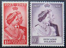 1948 Pitcairn Islands Pre Decimal Stamps: Royal Silver Wedding KGVI - Set 2 MNH