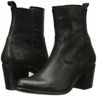 NWT Frye Janis Gore Short Black Leather  Ankle Boot 8 M $328