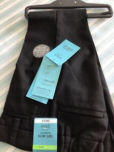 Marks And Spencer Boys Black School Trousers Age 3-4