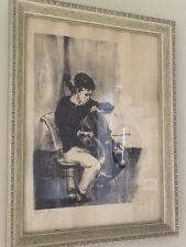 """Mervin Jules """"Practice"""" (Cello) Original Woodcut Hand Signed, Limited Ed. 86/250"""