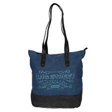 Canvas Damen Handtasche Shopper Schultertasche Tasche Umhängetasche Uni Blau NEU