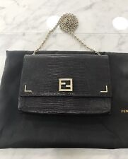 100% Authentic Fendi Black Crossbody Wallet on a Gold Detachable Chain, Clutch