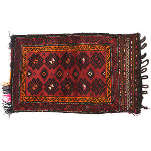Afghan Hand-knotted Used Vintage Wall Hanging Cushion Rug 96 x 58 cm # 11580