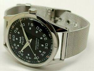 Hmt Pilot Hand Winding Men Steel Black Dial Vintage 17 Jewels Watch Run Order