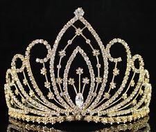 WEDDING PAGEANT RHINESTONE CRYSTAL TIARA CROWN W/ HAIR COMBS BRIDAL 01294 GOLD