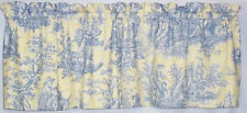 Waverly Country Life Vintage Lake Blue Yellow Toile Custom Gathered Valance