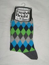 BNWT - DIESEL  Diamond Pattern  Unisex Socks - Grey   Size 5.5 - 8