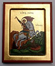 Ikone Heilige Georg auf Pferd Kampf mit Drachen Icon St.George Icona Icone Ikona