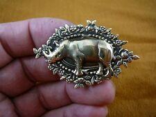 (b-rhino-1) Rhino rhinoceros Safari Africa I love pin brass brooch lover rhinos